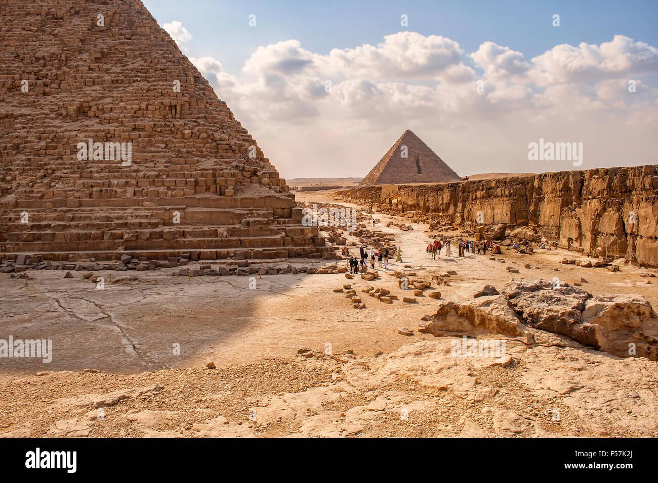Immagine delle piramidi di Giza in Egitto. Immagini Stock