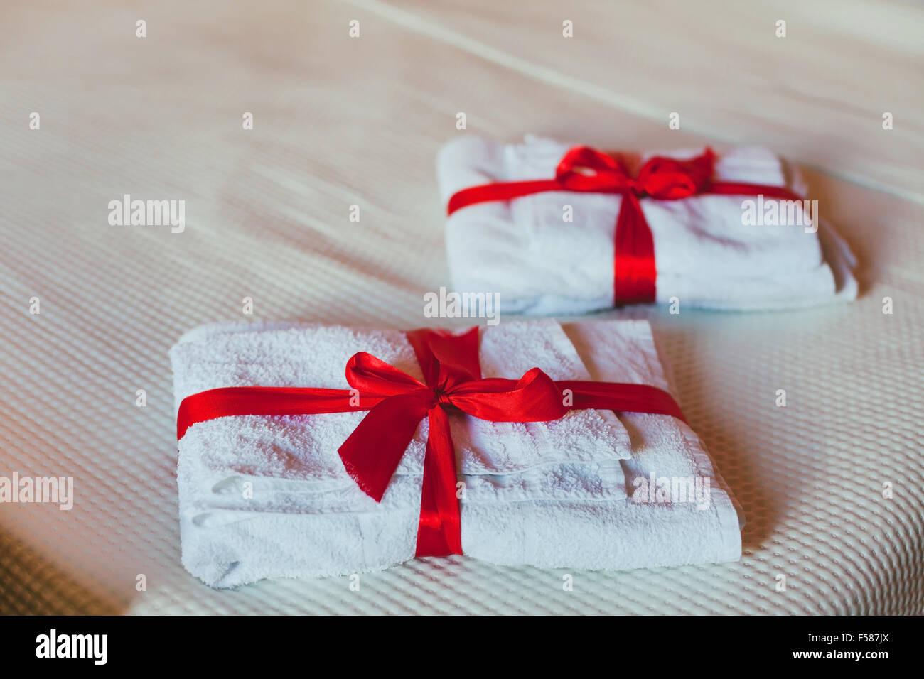 Gli asciugamani in hotel Immagini Stock