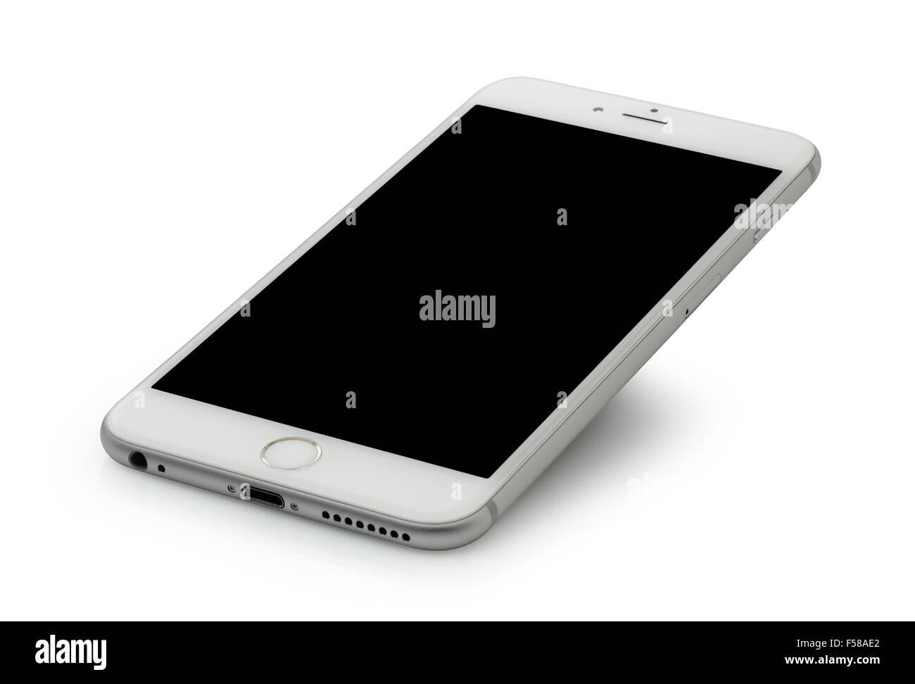 Argento Iphone 6 Plus Su Sfondo Bianco Foto Immagine Stock