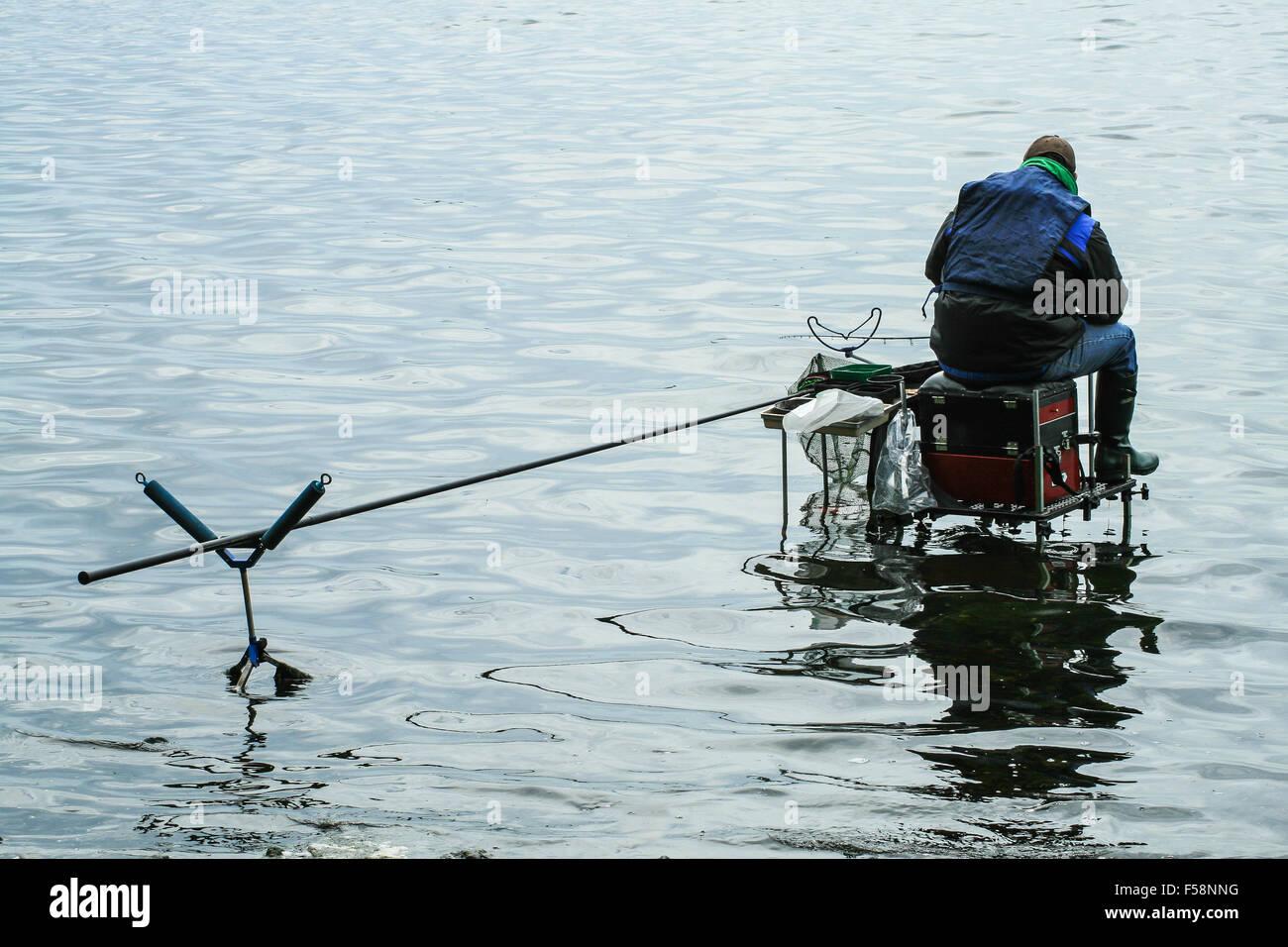 Grossolana del pescatore di angolazione Immagini Stock