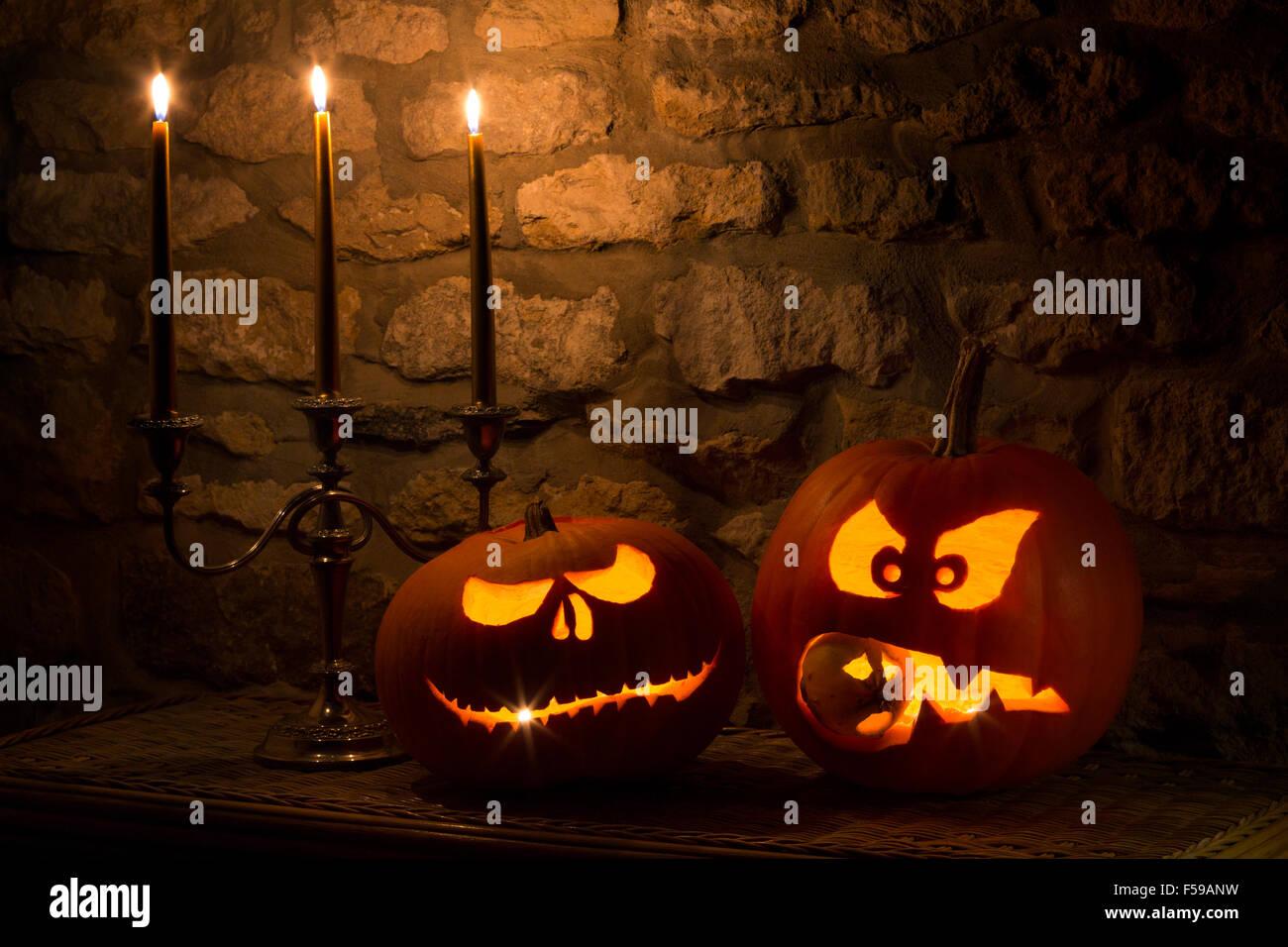 Spooky Zucche di Halloween Immagini Stock