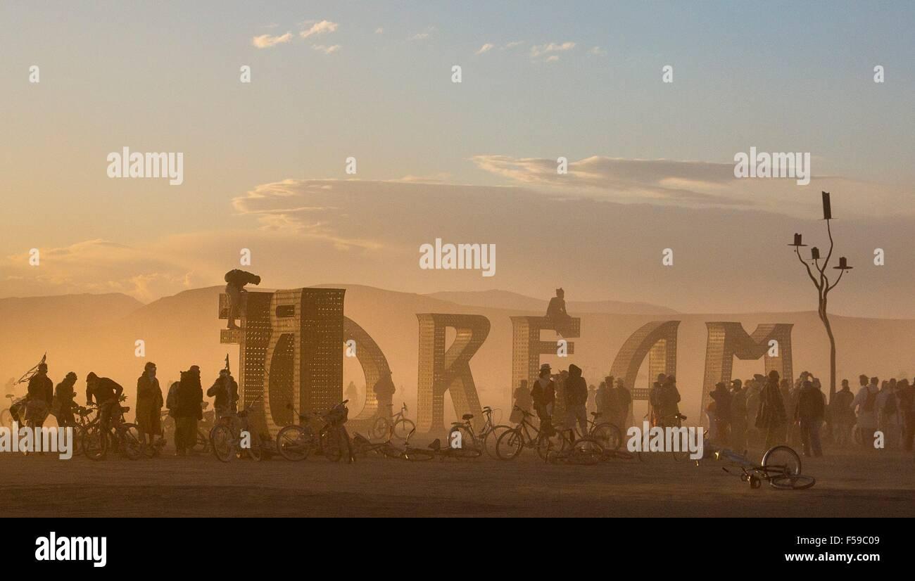 Il sogno di arte di installazione nel deserto durante l annuale Burning Man festival Settembre 1, 2015 in Black Immagini Stock
