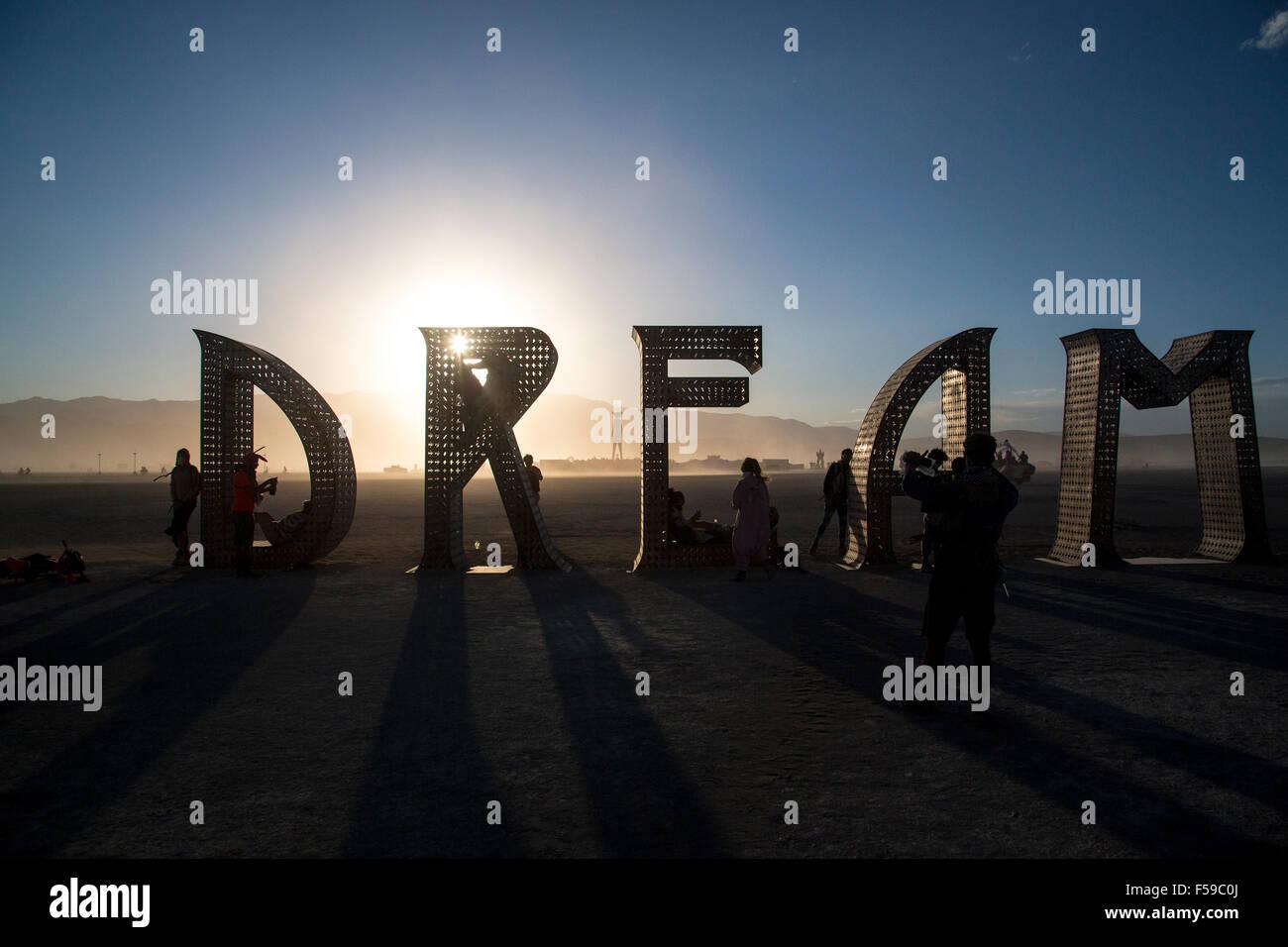 Sogno arte di installazione nel deserto durante l annuale Burning Man festival Settembre 1, 2015 in Black Rock City, Immagini Stock