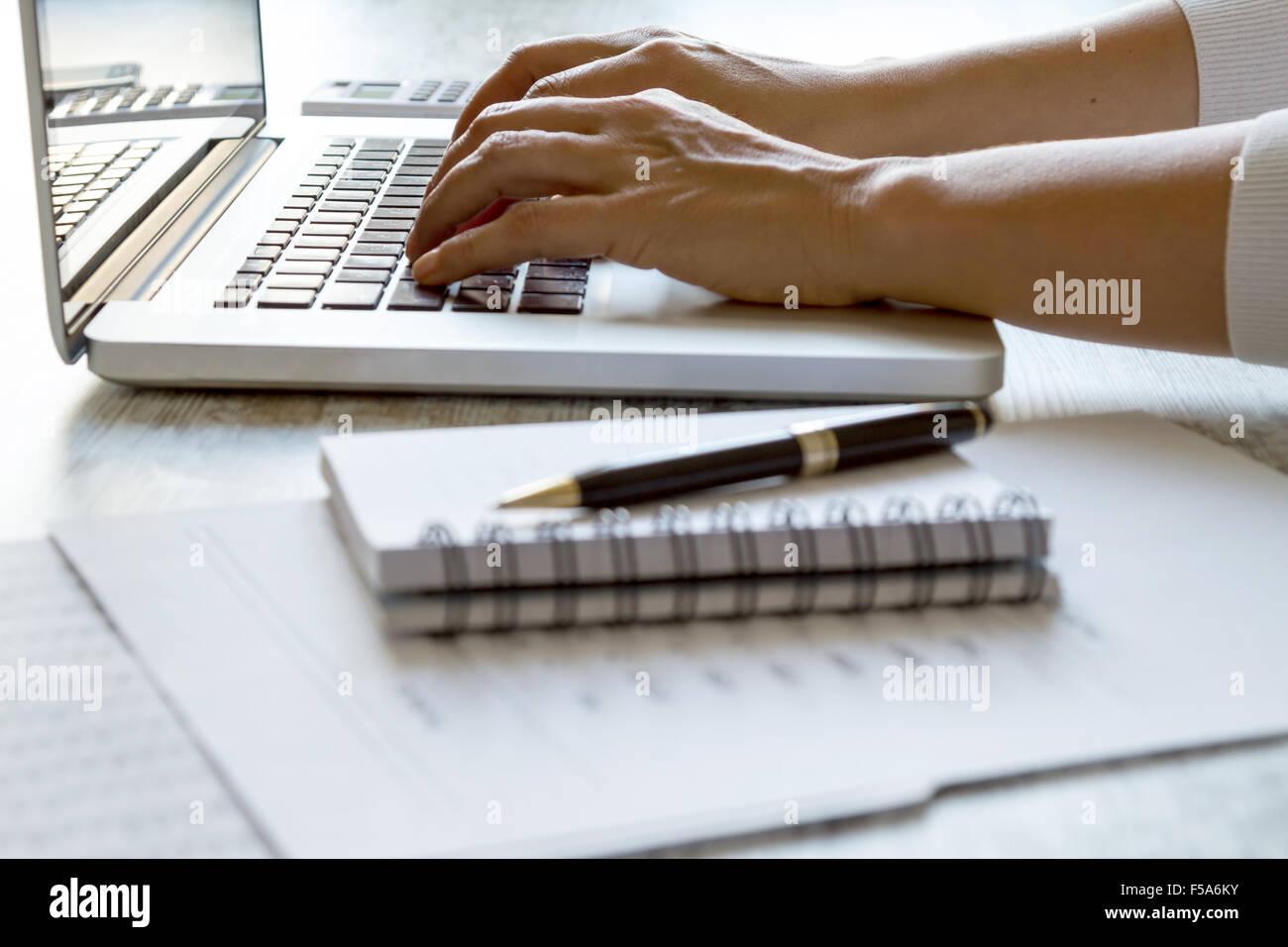 Lavorando in ufficio con il computer Foto Stock