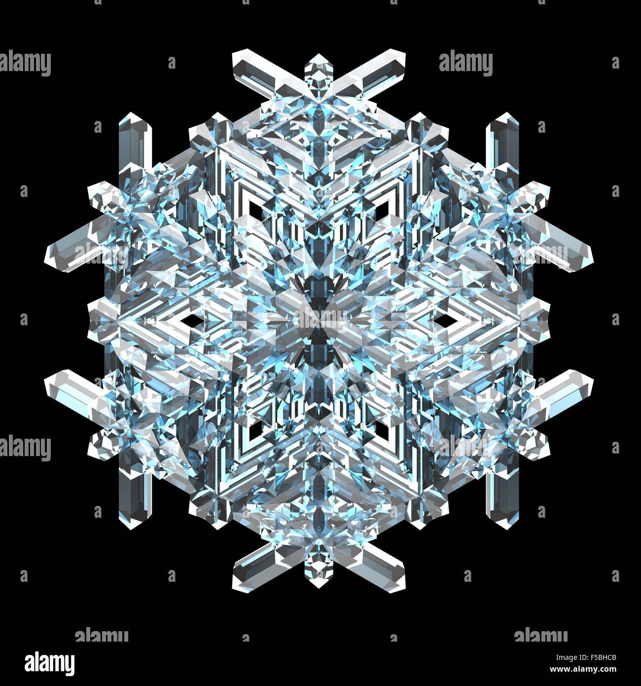 Singolo cristallo blu il simbolo del fiocco di neve su sfondo nero Immagini Stock