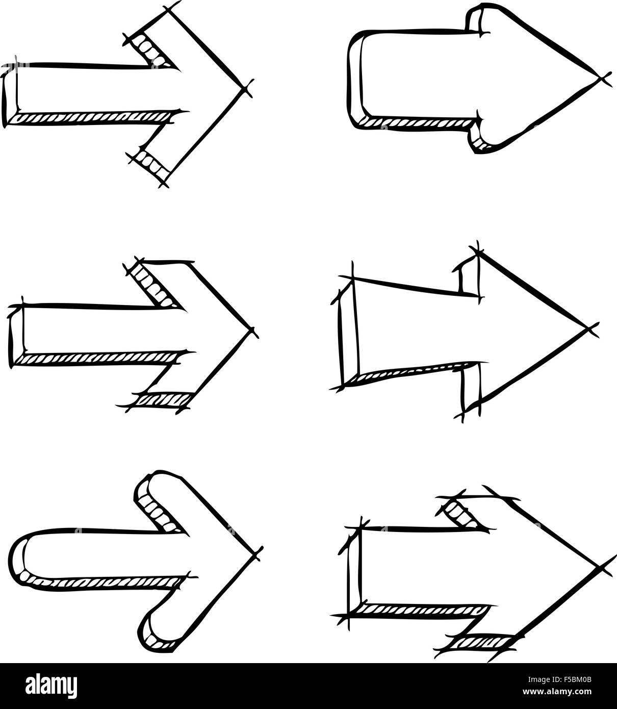 Una serie di frecce disegnate illustrazione vettoriale Immagini Stock