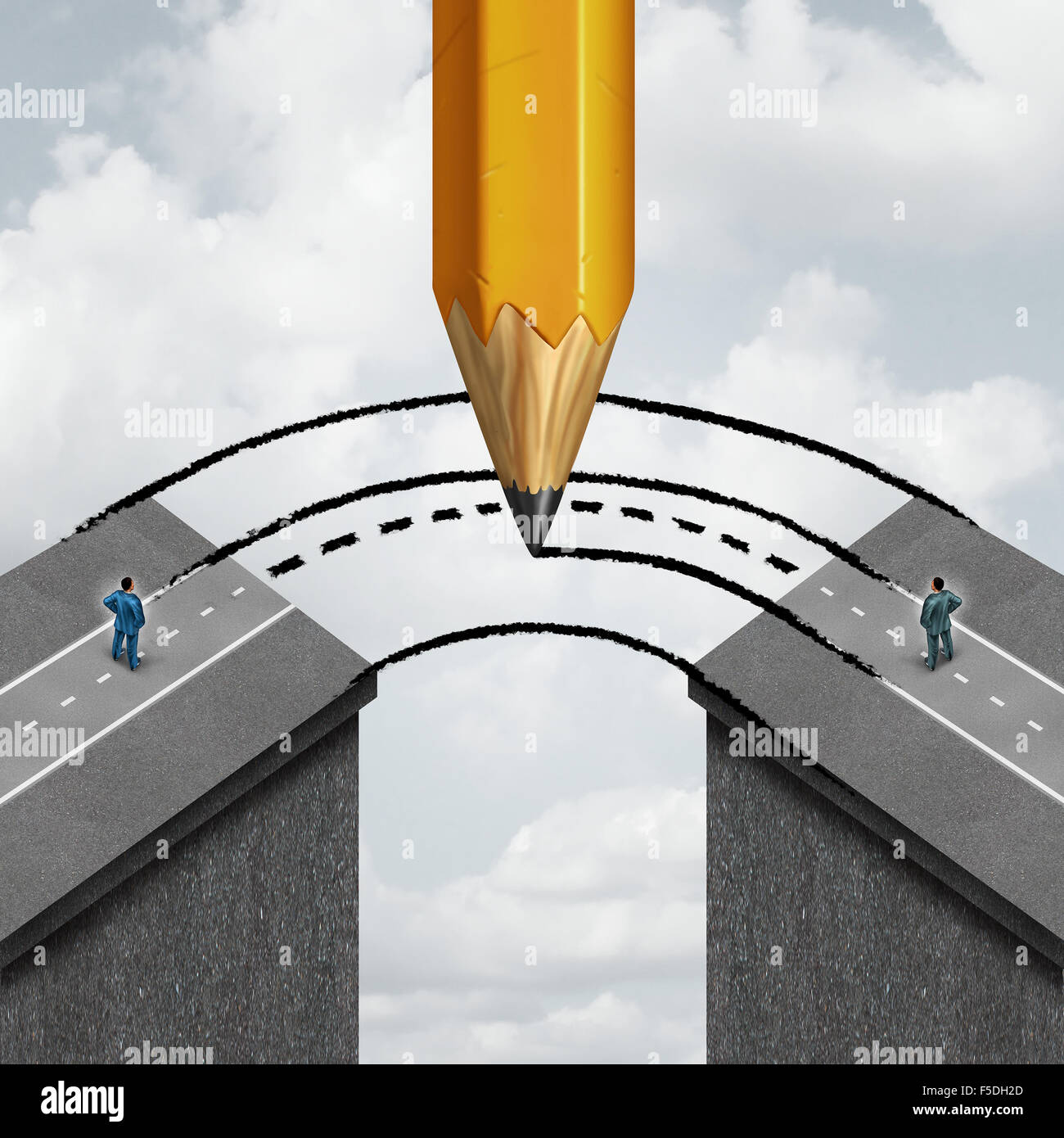 Colmare il divario di business il concetto di partenariato come un gigante di disegno a matita di una strada di Immagini Stock