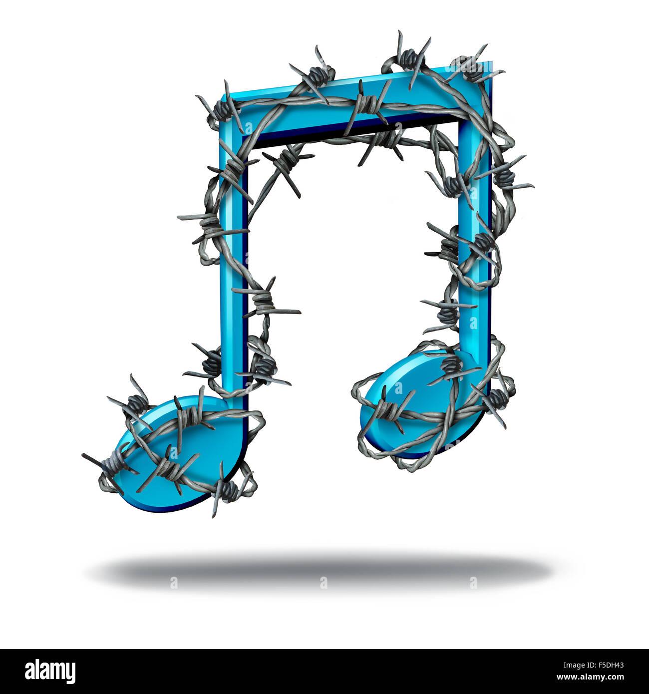 Musica il concetto di restrizione come una nota musicale avvolto con sharp barb o filo spinato come una metafora Immagini Stock