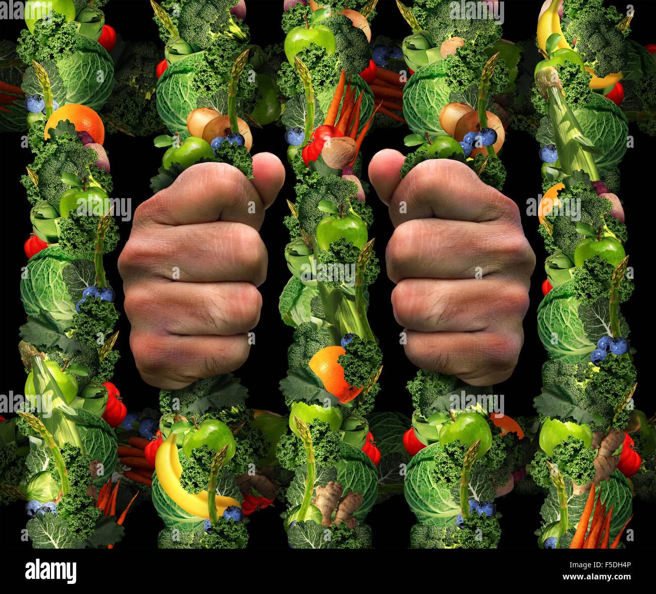 Mangiare sano ossessione concetto e addicted to health food simbolo o o Ortoressia nervosa come estremo di mangiare Immagini Stock
