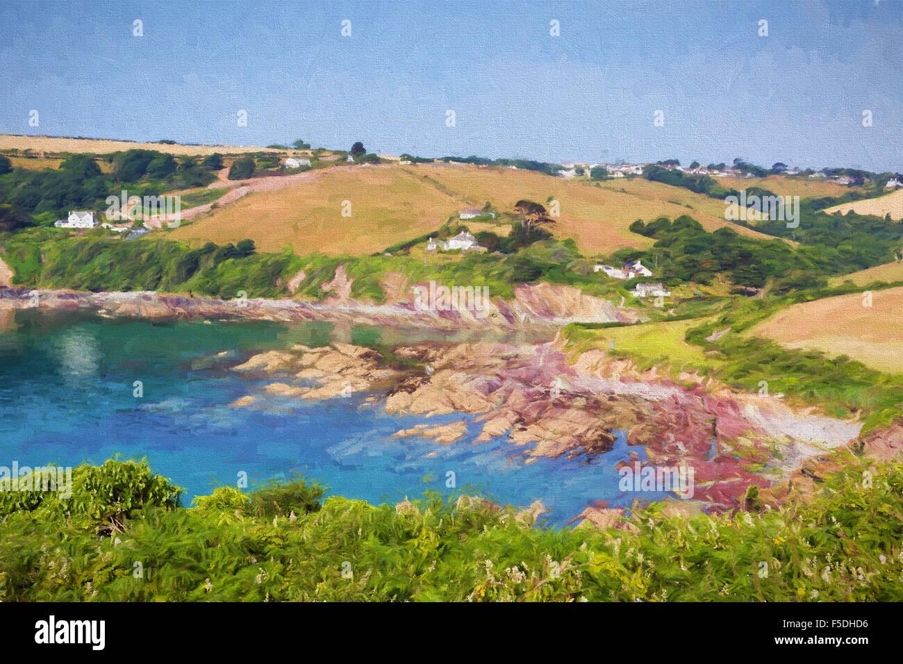 Talland baia tra Looe e Polperro Cornwall Inghilterra REGNO UNITO su un bel cielo azzurro giornata soleggiata illustrazione Immagini Stock