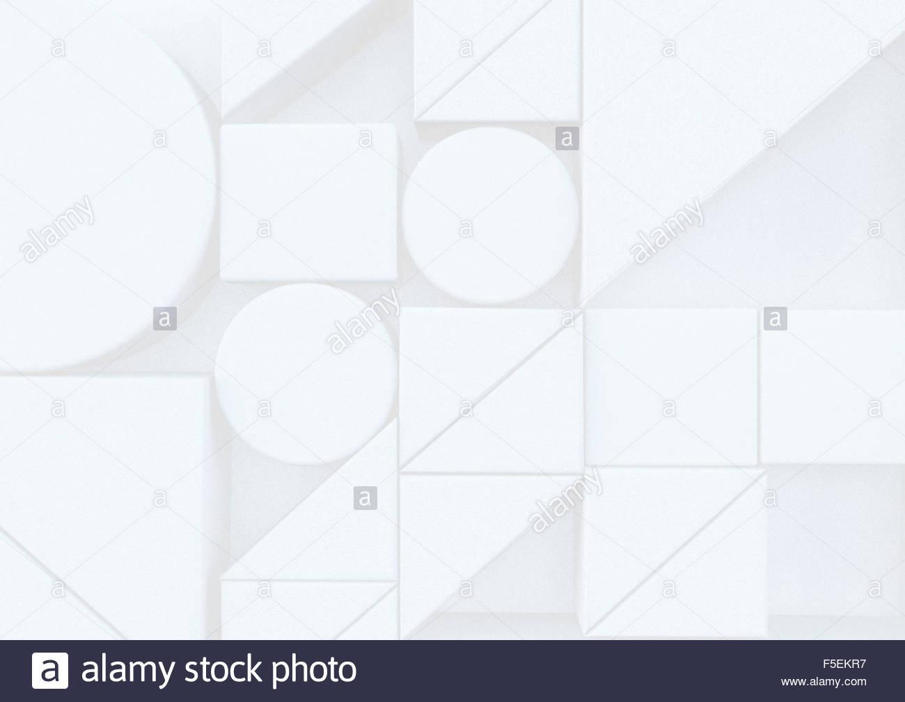 Configurazione astratta di diverse forme di colore bianco Immagini Stock