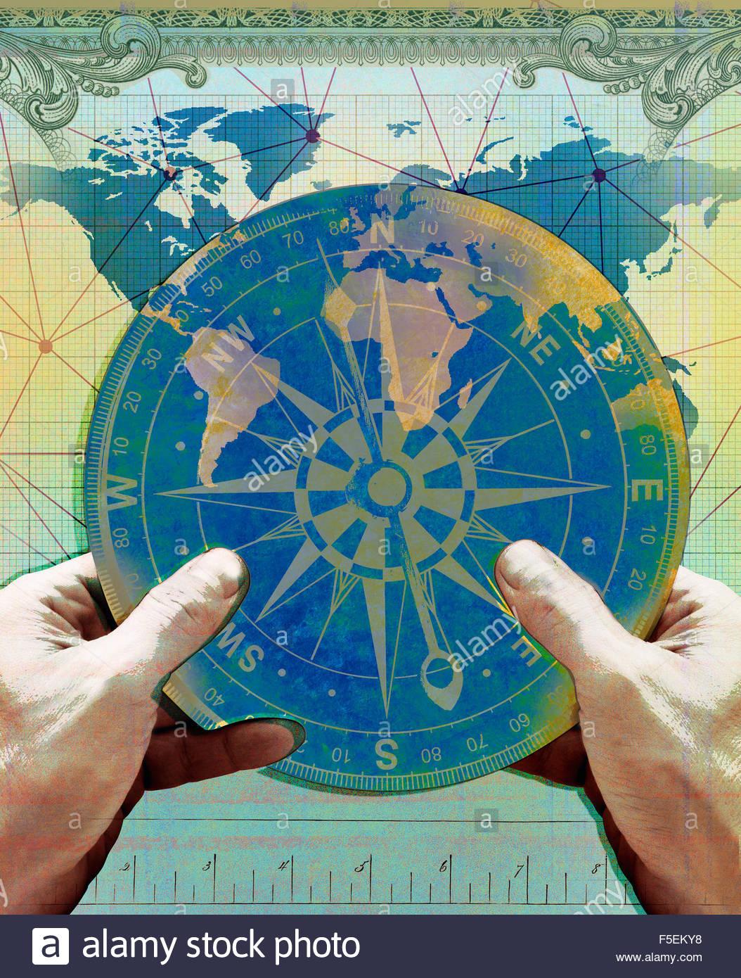 Mani bussola di navigazione su grafico della mappa del mondo Immagini Stock