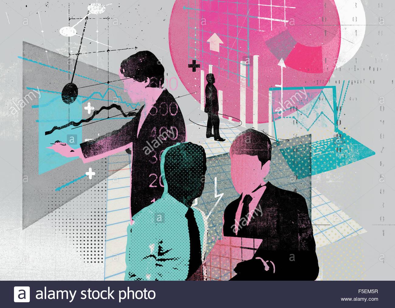 Collage di uomini di affari di analizzare i dati aziendali Immagini Stock