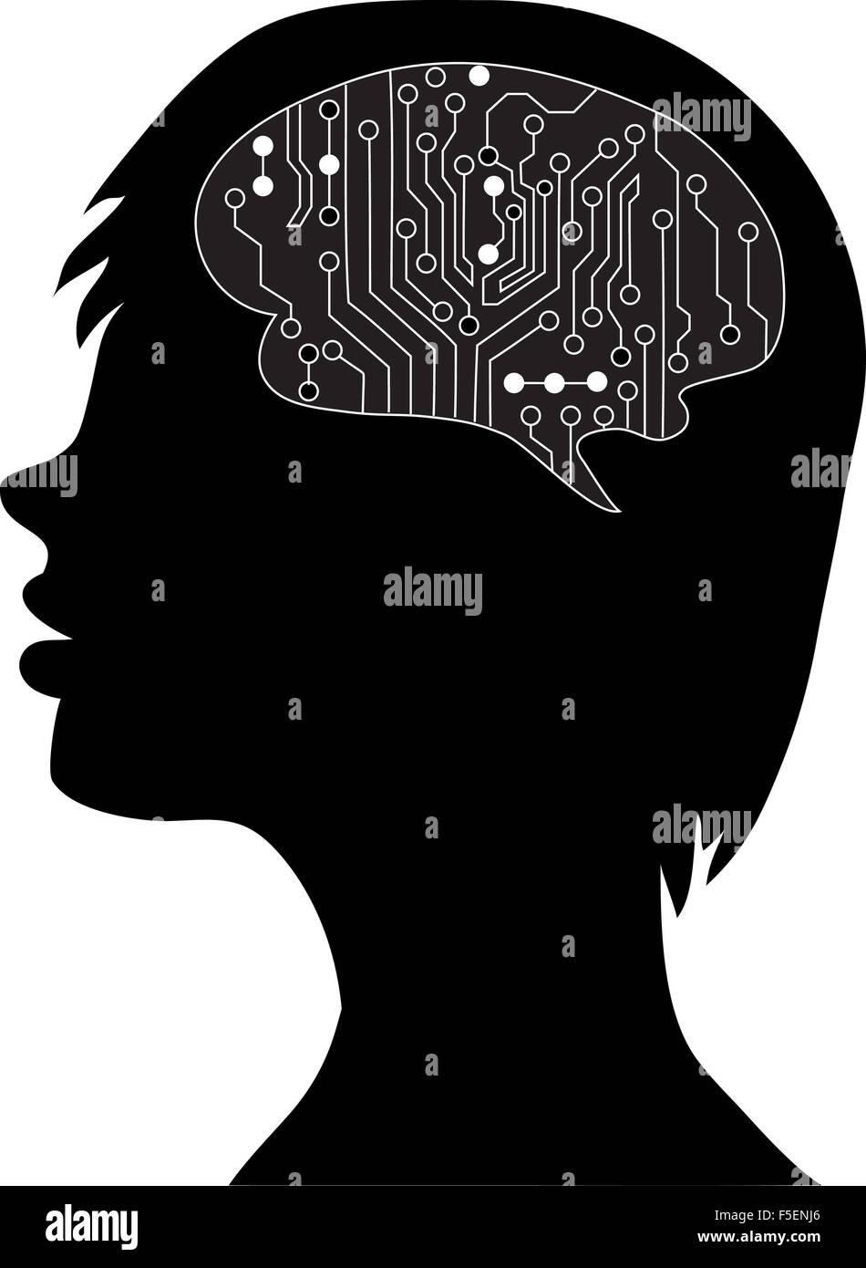 Cervelli tecnologico . Eps vettoriali10.silhouette della testa e del cervello. processo del pensiero umano. Il concetto Immagini Stock