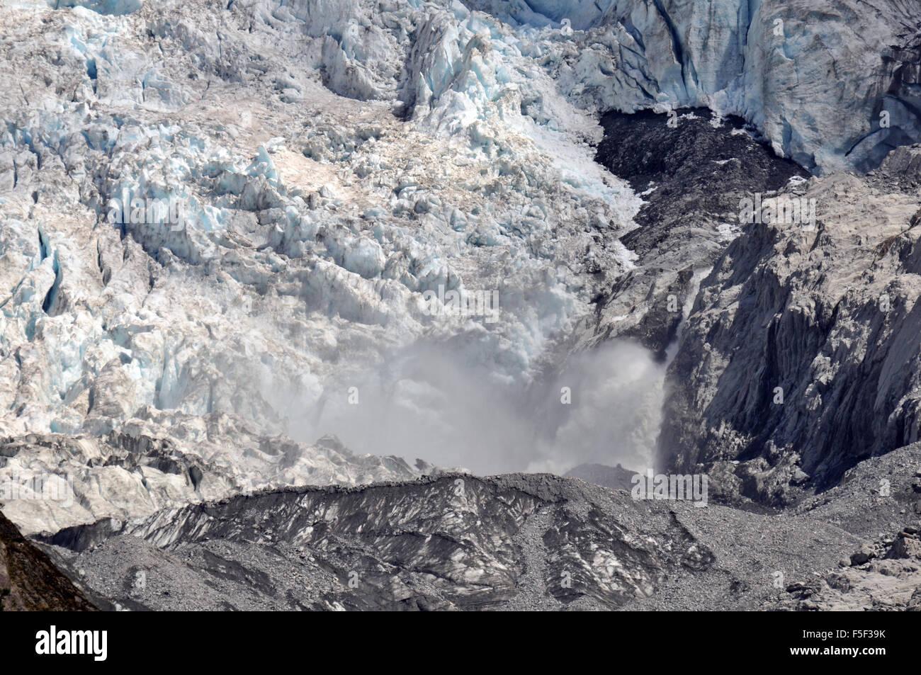 Punto di fusione in Ghiacciaio Franz Josef Franz Josef, Isola del Sud, Nuova Zelanda Immagini Stock