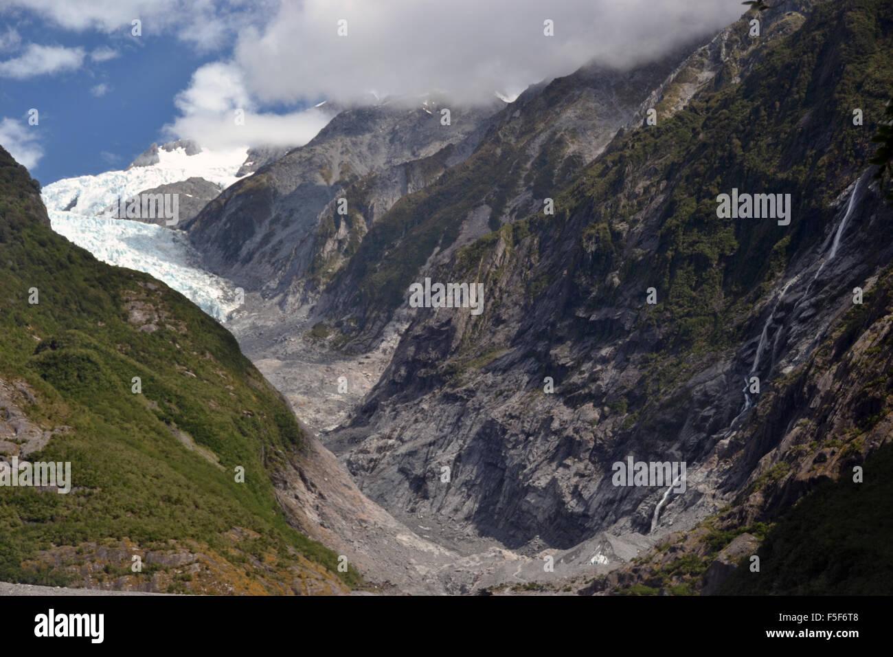 Ghiacciaio Franz Josef, un ghiacciaio a fondere a causa del cambiamento climatico, Franz Josef, Isola del Sud, Nuova Immagini Stock