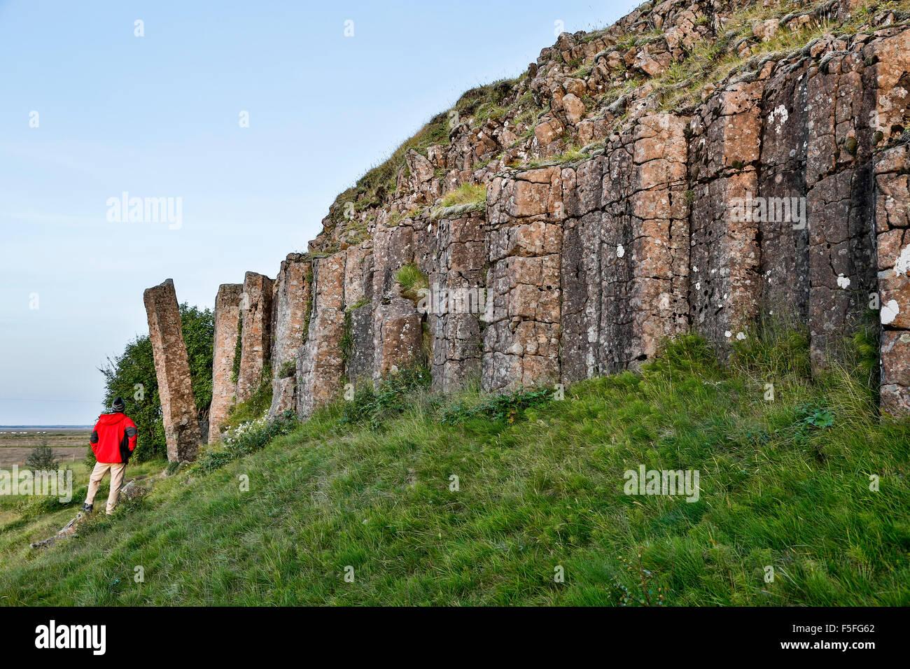 Escursionista ammirando basalto colonnare affioramento, Dverghamrar Nana (scogliere), vicino a Foss, Islanda Immagini Stock