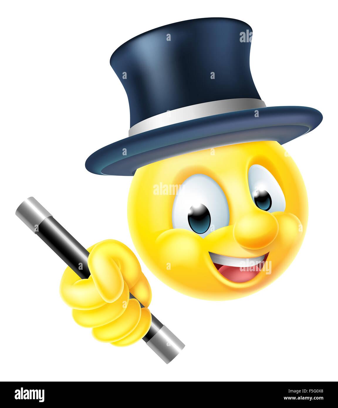 Un emoticon emoji Smiley face mago personaggio in possesso di una ...