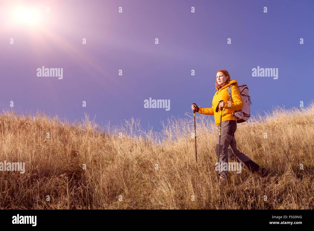 Escursionista femmina camminando sulla collina erbosa Immagini Stock
