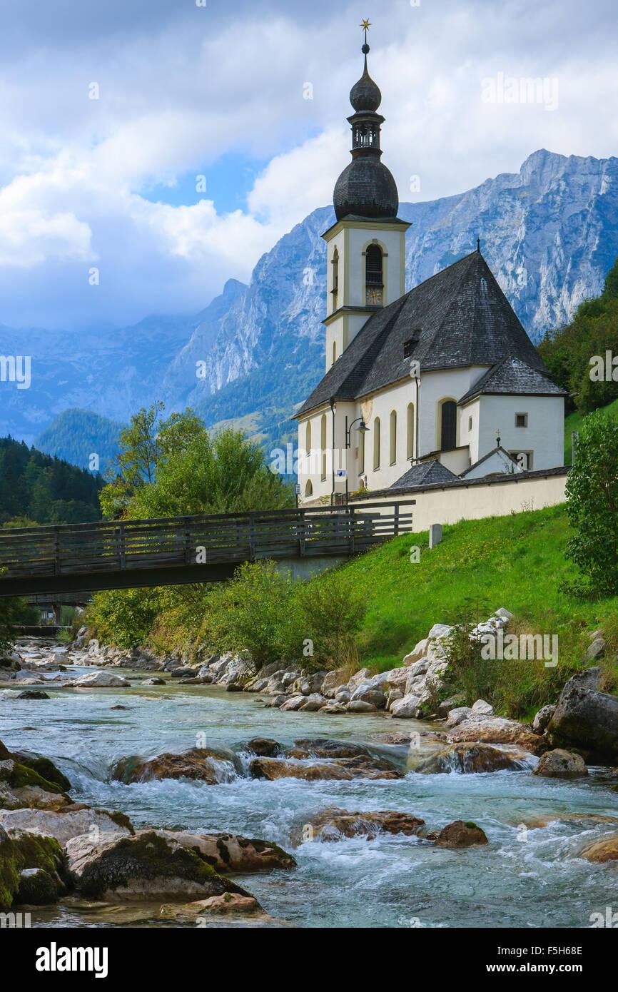 La Chiesa di San Sebastiano in Ramsau vicino a Berchtesgaden, Baviera, Germania. Immagini Stock