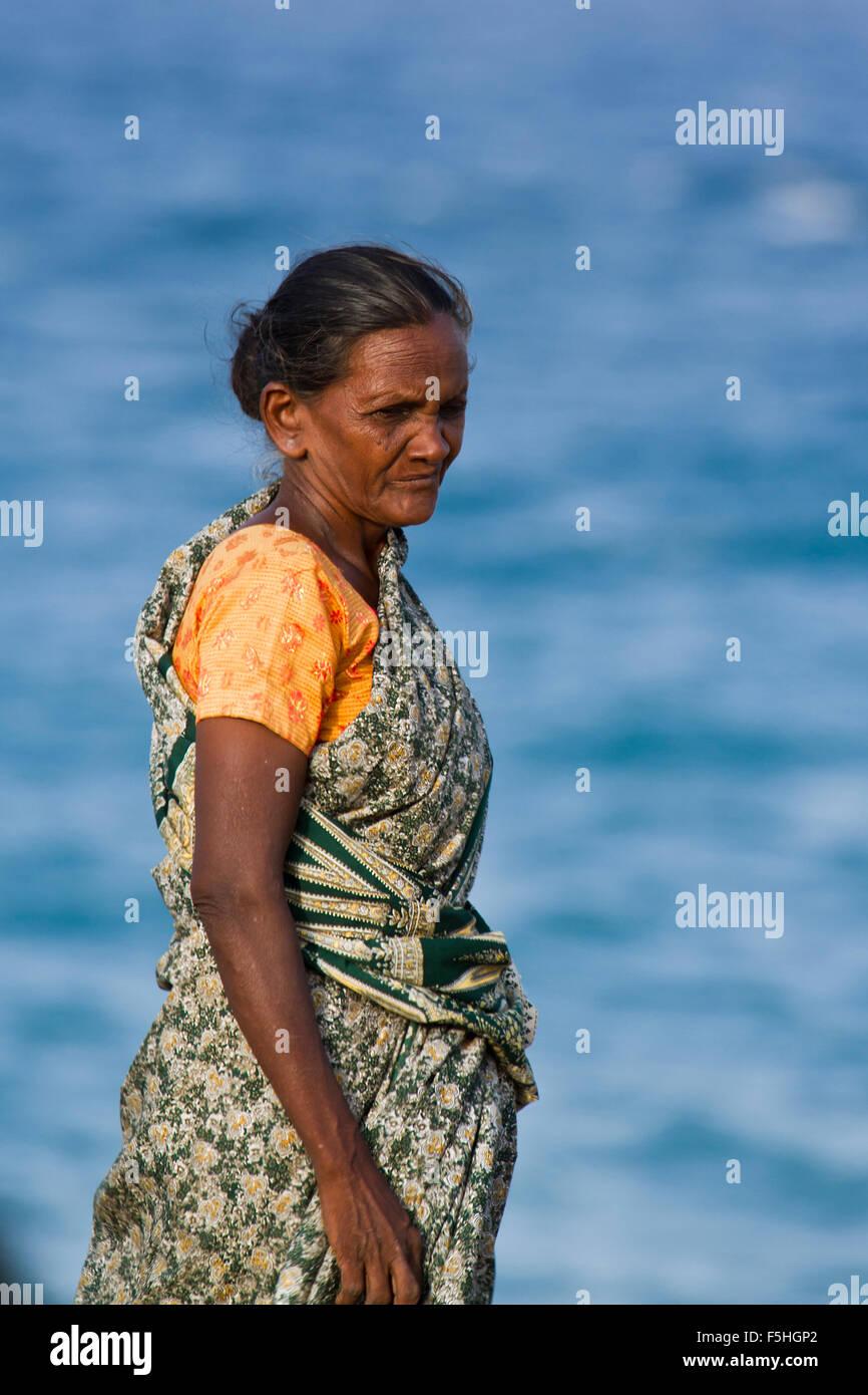 Tamul tradizionale donna nel distretto di Batticaloa, Sri Lanka Immagini Stock