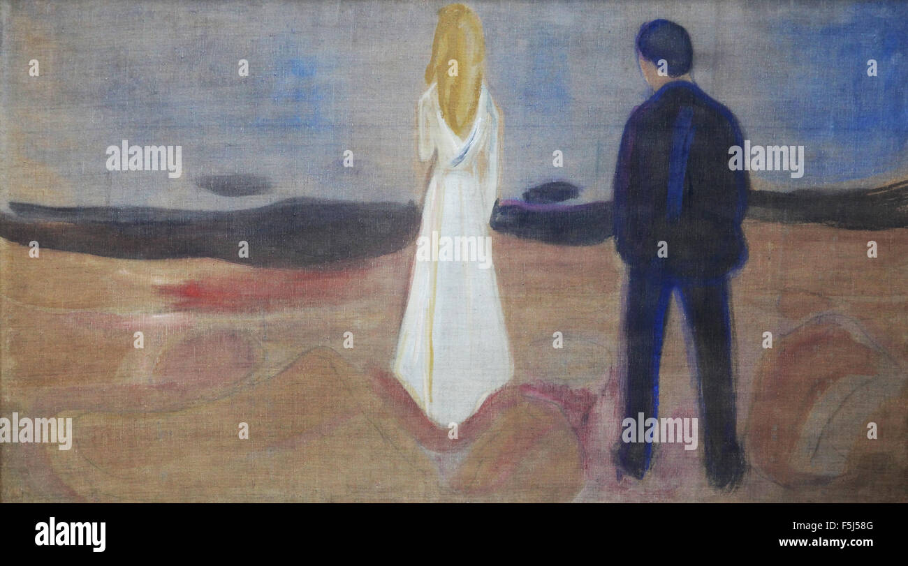 Edvard Munch 1863-1944 due esseri umani i solitari il reinhardt friese 1906 Immagini Stock