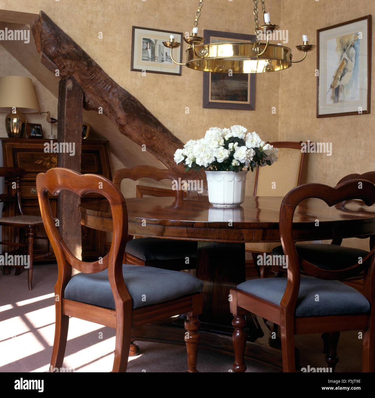 Antico tavolo e sedie in novanta sala da pranzo con luce in ottone ...