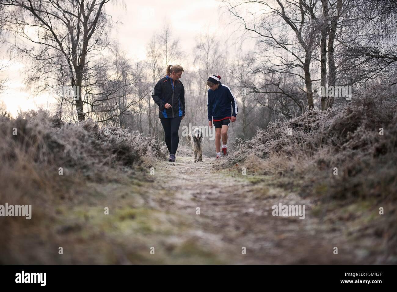 Vista frontale della madre e figlio passeggiate con il cane guardando verso il basso Immagini Stock