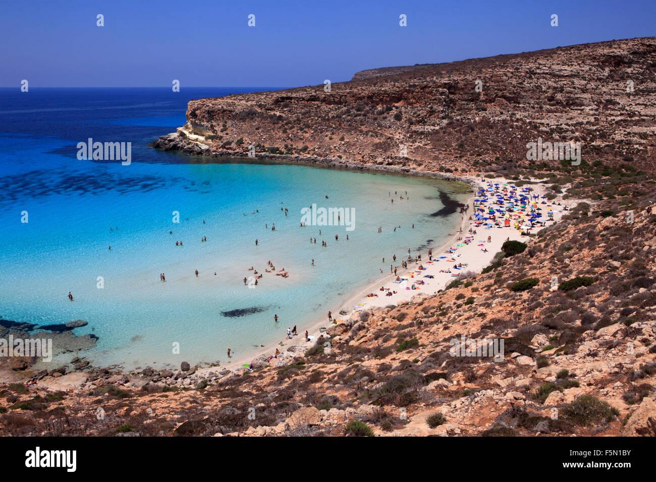 Spiaggia dei conigli a Lampedusa, Sicilia, Italia Immagini Stock