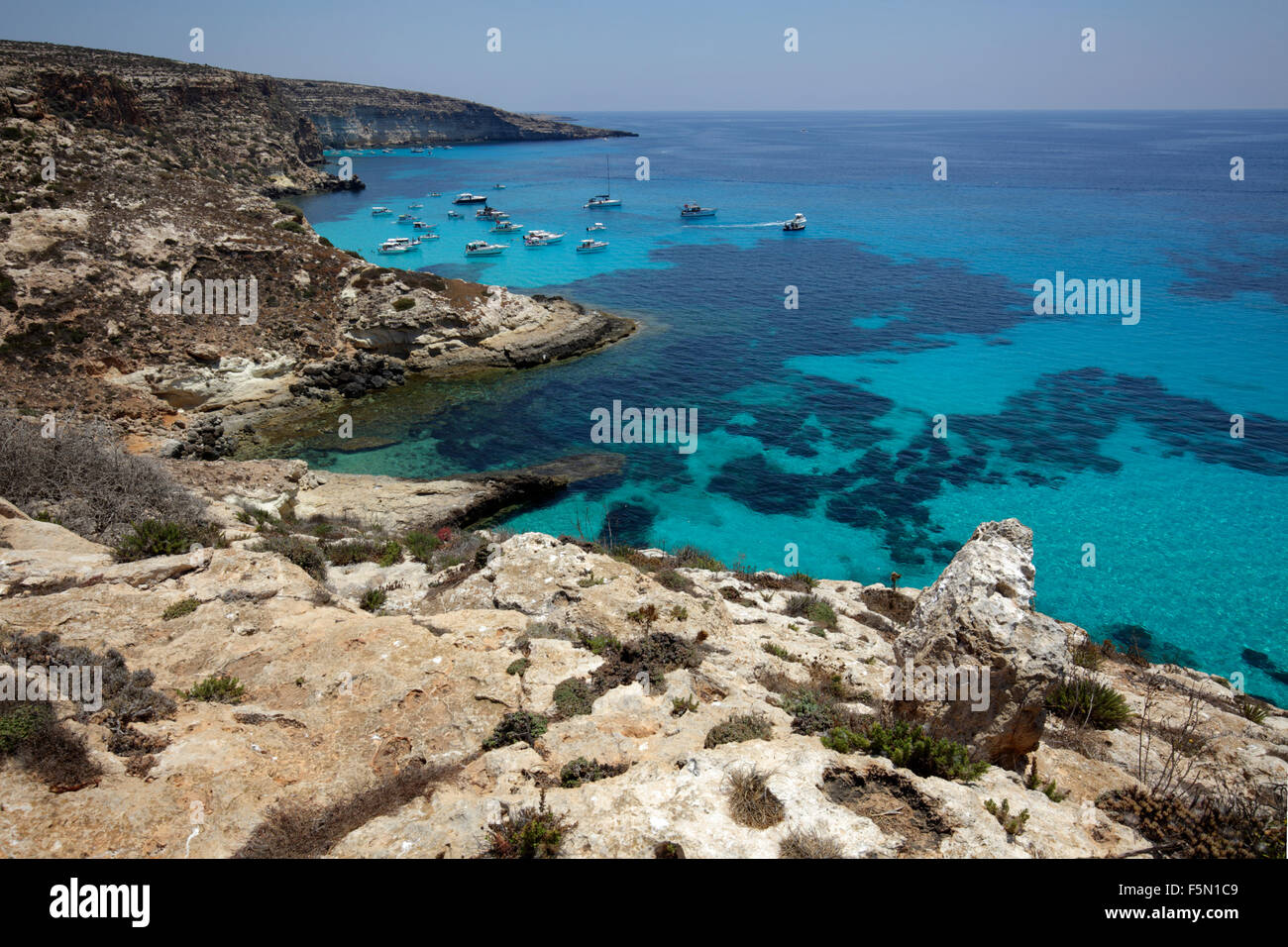 Baia Tabaccara a Lampedusa, Sicilia, Italia Immagini Stock