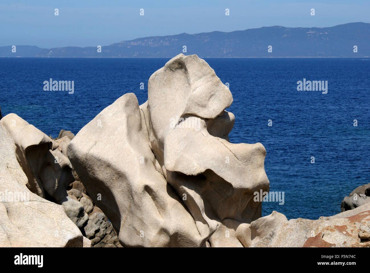 Le formazioni rocciose, Campomoro, Corsica, Francia Foto Stock