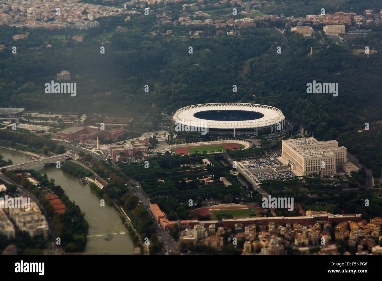 Vista aerea di Roma: Stadio Olimpico Immagini Stock