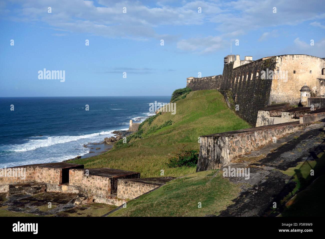San Cristobal Fort, San Juan, Puerto Rico e dei Caraibi Immagini Stock