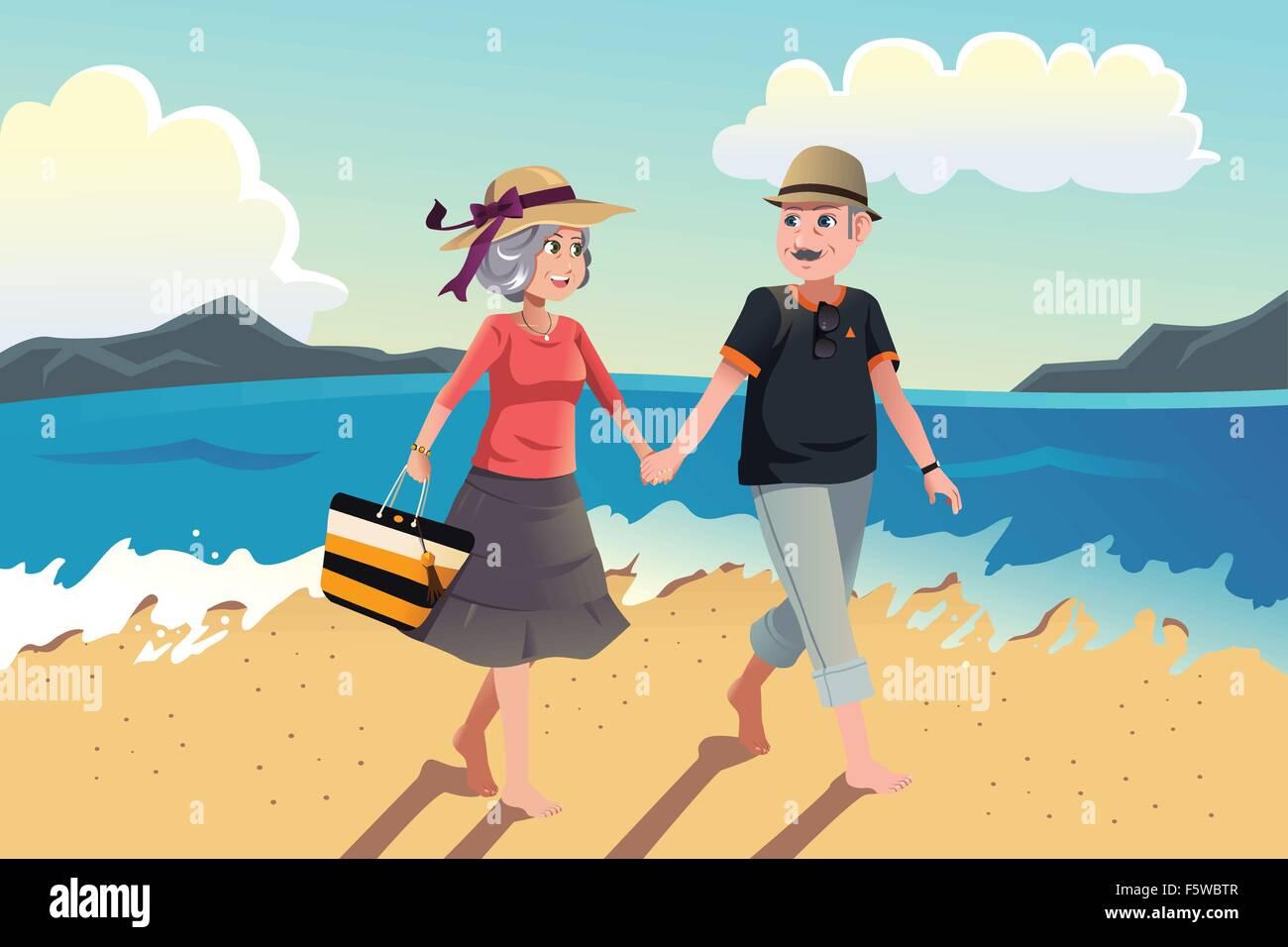 Una illustrazione vettoriale di coppia senior di camminare sulla spiaggia Immagini Stock