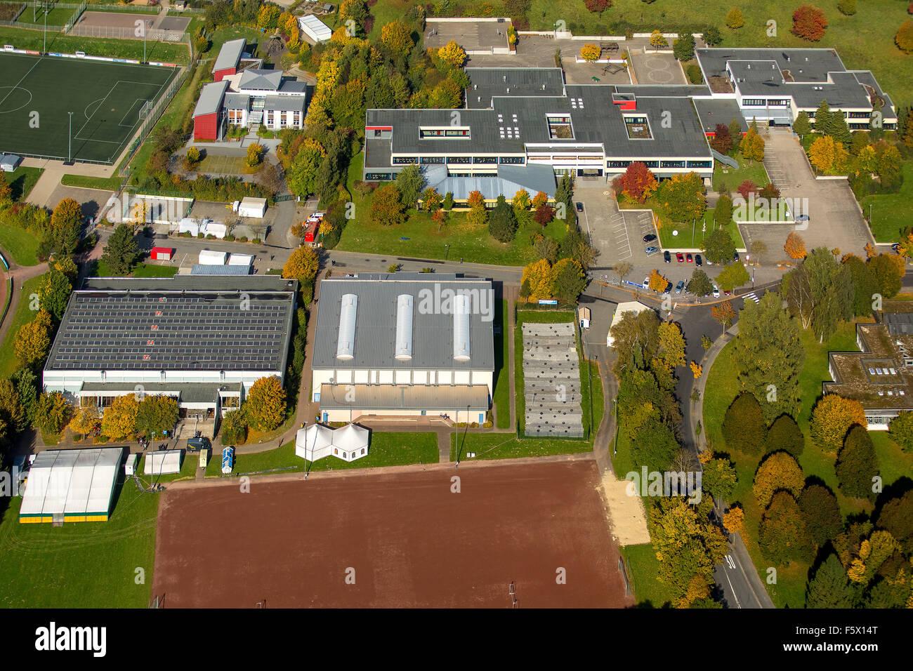 Impianto sportivo Carl-Diem-Weg, Brilon refugee shelter, asilo alloggio, Brilon, Sauerland, Hochsauerlandkreis Immagini Stock