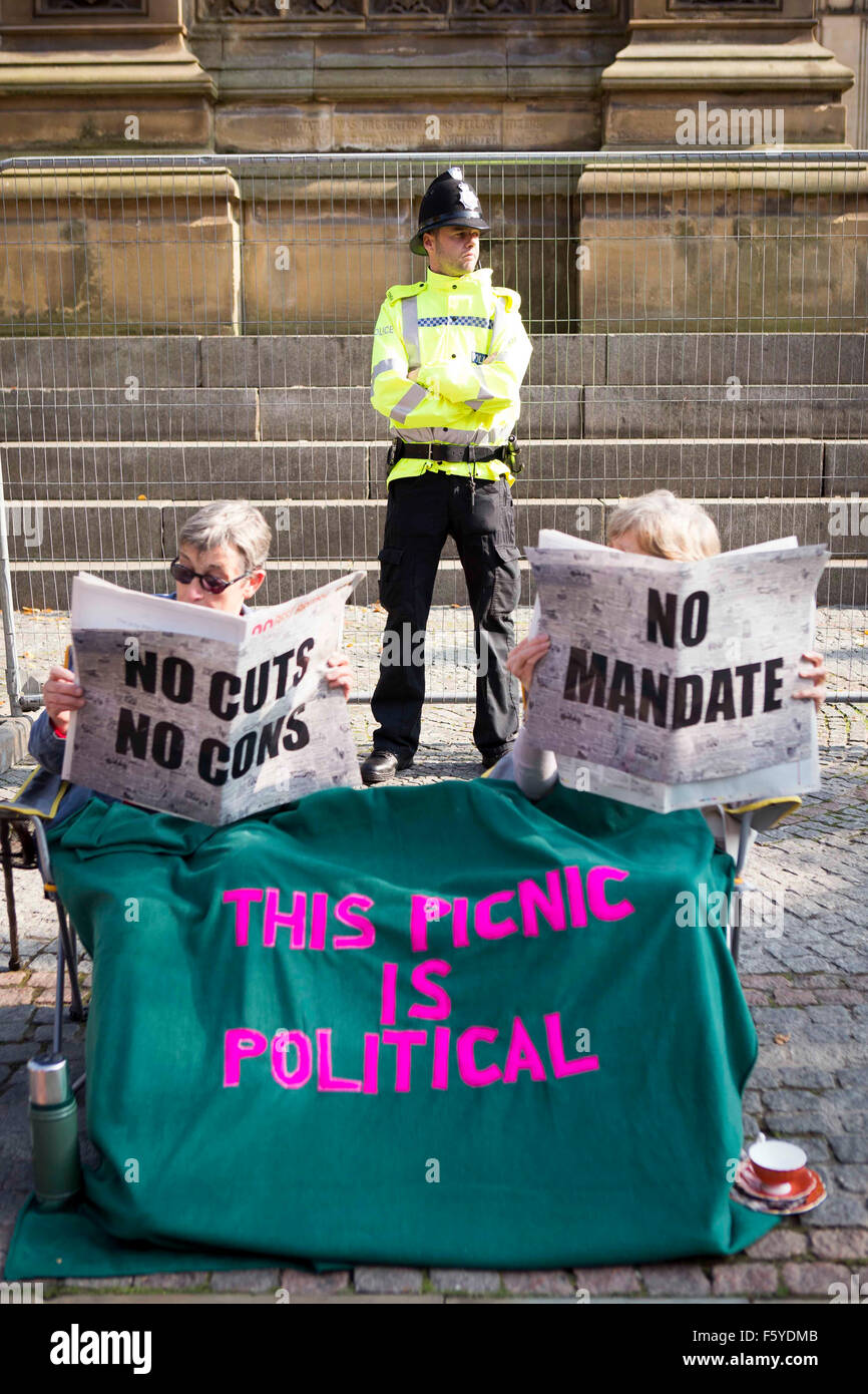 Manchester anti-austerità rally di protesta Immagini Stock
