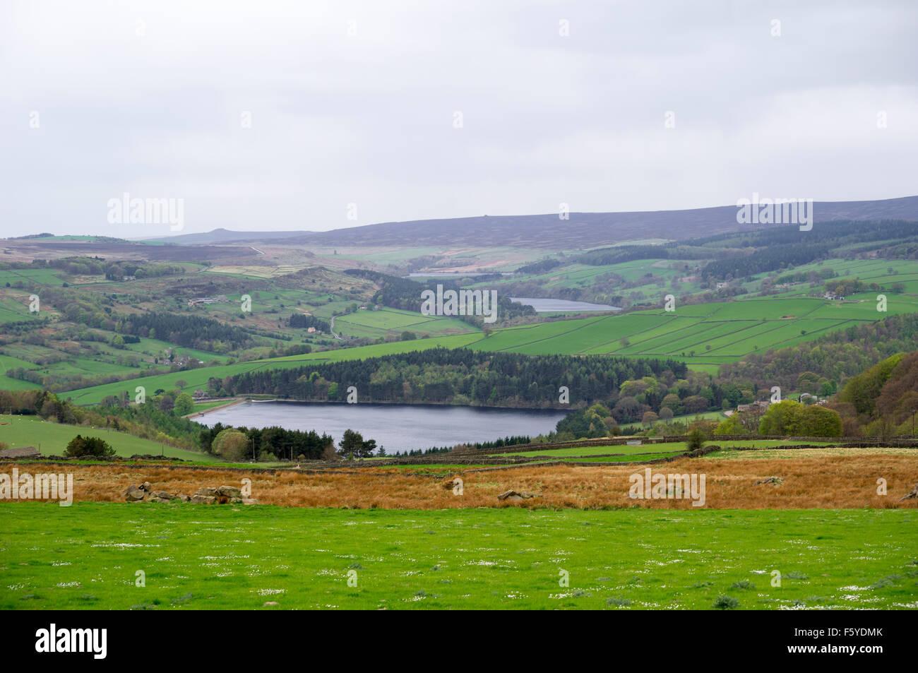 Bradfield superiore dighe e la campagna di Sheffield Regno Unito Yorkshire acque Immagini Stock