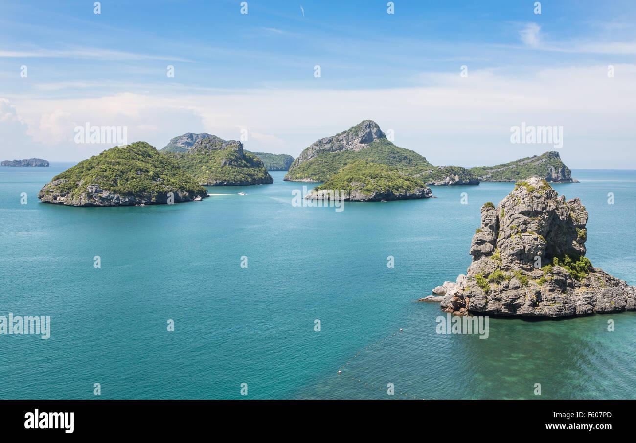 Parco Nazionale Marino di Ang Thong è un arcipelago contenente 42 stupefacente isola vicino a Ko Samui, Ko Immagini Stock