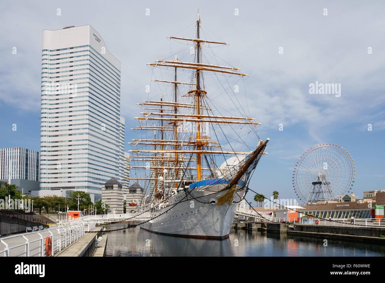 Il Nippon Maru nave a vela presso il porto di Minato Mirai, Yokohama, Giappone. Immagini Stock