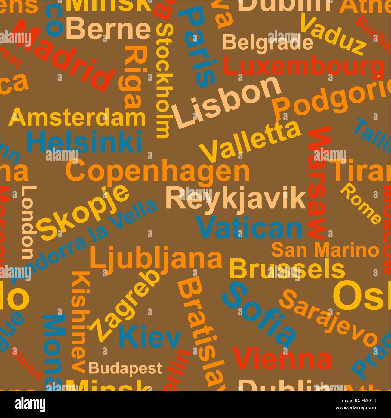Sfondi di I nomi delle capitali d'Europa.vettore Immagini Stock