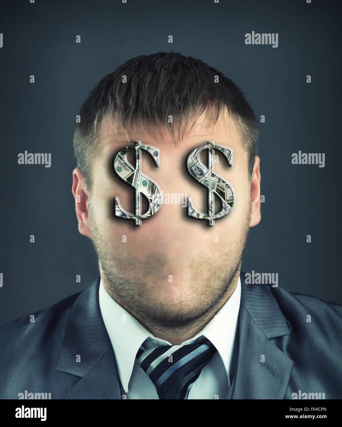 Ritratto di imprenditore senza volto con simboli di dollaro al posto degli occhi Immagini Stock