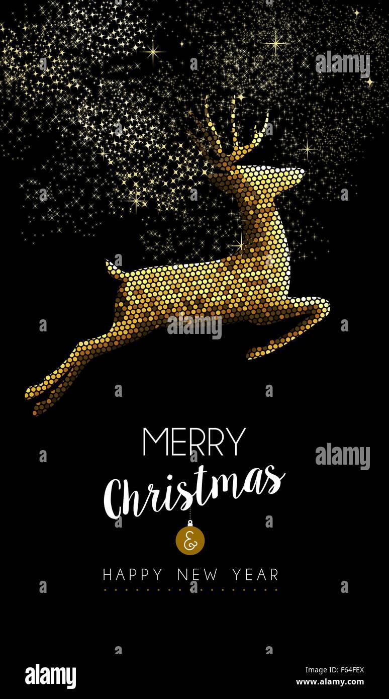 Auguri Di Buon Natale Eleganti.Auguri Di Buon Natale Felice Anno Nuovo Lussuoso Renne Oro Saltando