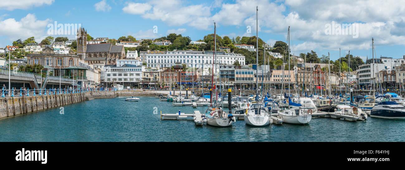 Panorama del Porto e Marina di Torquay, Torbay, Inghilterra, Regno Unito | Aussicht ueber den Hafen und Marina von Immagini Stock