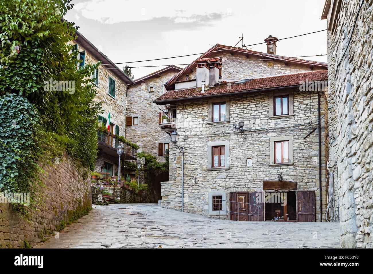 Case In Pietra Di Montagna : Vicoli nel borgo medievale di borgo di montagna in toscana