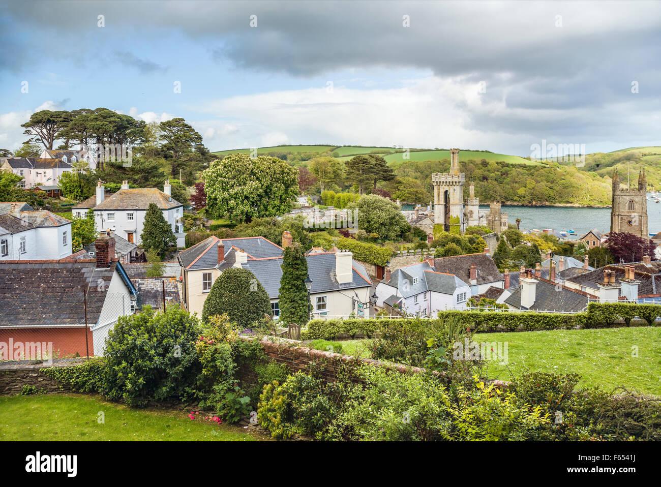 Vista panoramica sopra la città vecchia di Fowey, Cornwall, Inghilterra, Regno Unito | Malerische Aussicht Immagini Stock