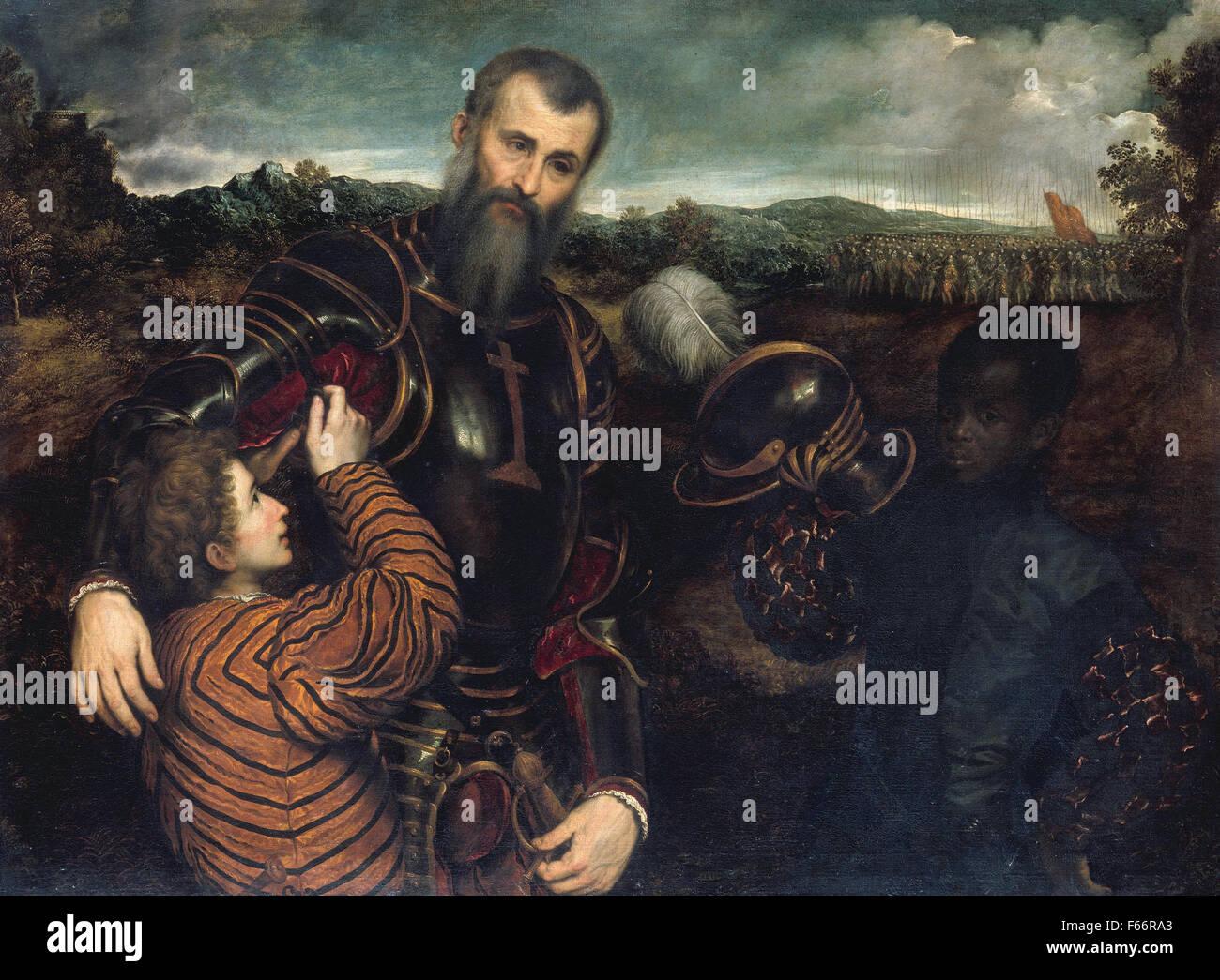 Pâris Bordone - Ritratto di un uomo in armatura con due pagine Immagini Stock