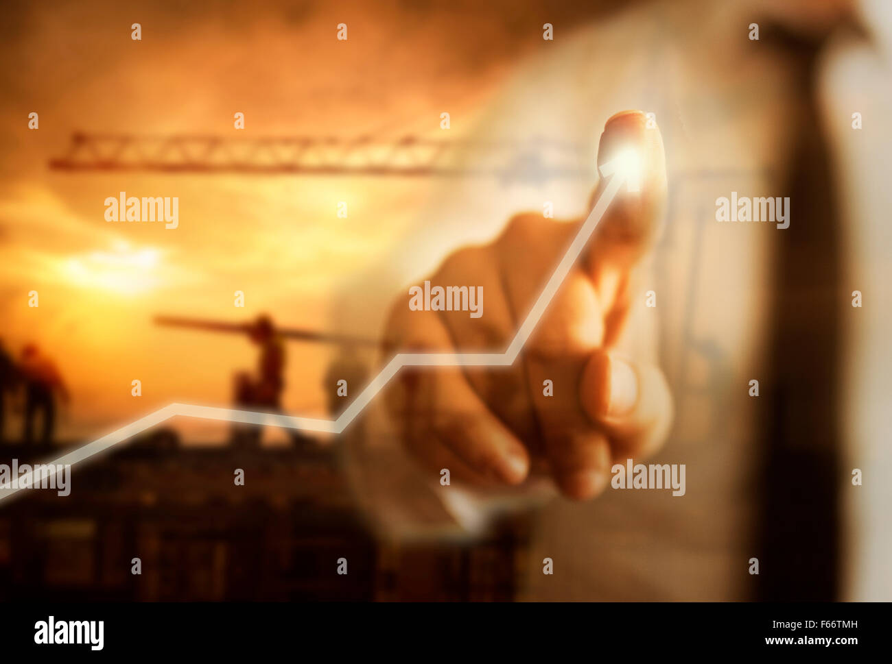 La crescita del business con il concetto di costruzione Immagini Stock