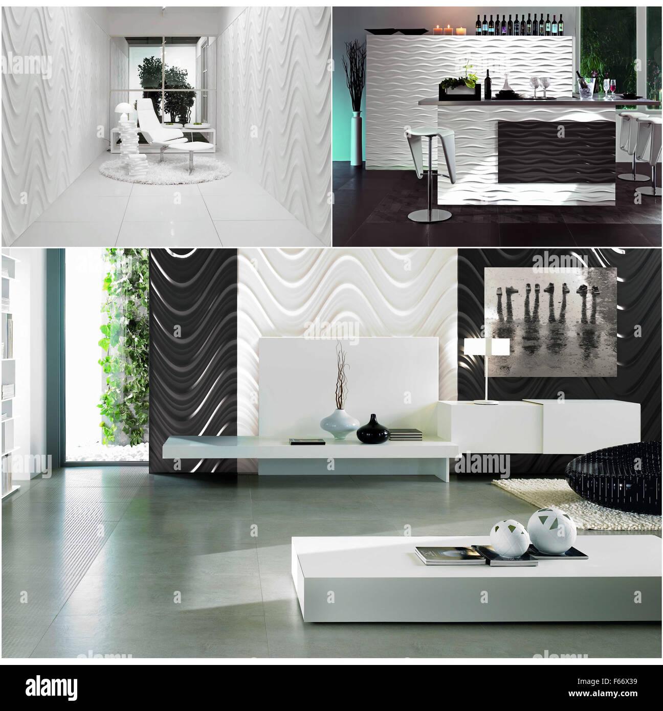 Il rendering del bianco e del nero di arredamento moderno ...
