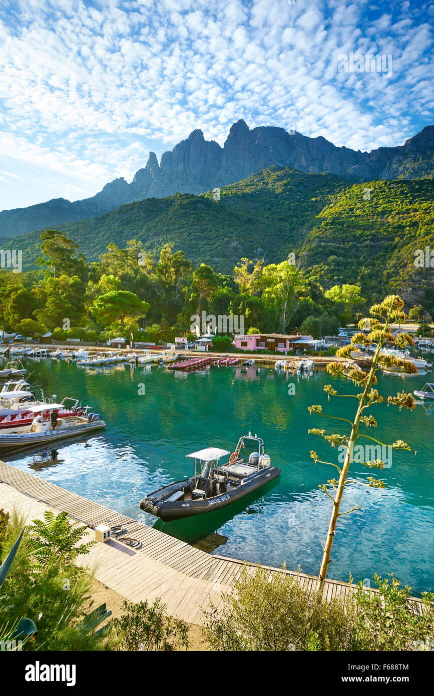 La Corsica, Porto Village, Les Calanches, Corsica, Francia Immagini Stock