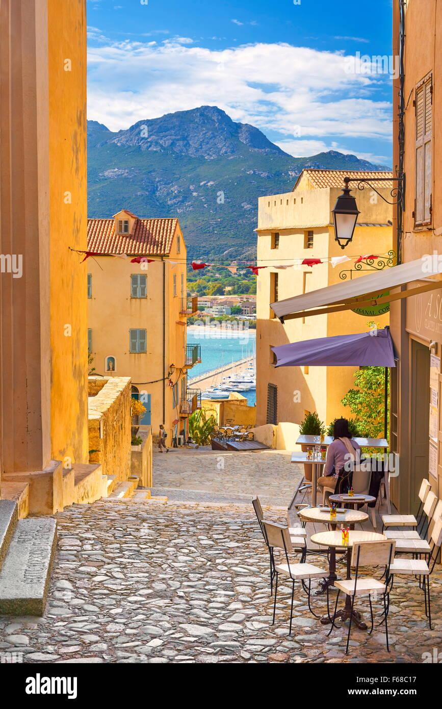 Corsica - Città Vecchia Calvi Balagne Costa Ovest, Francia Immagini Stock